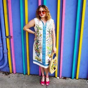 Vintage 1960s Designer Printed Dress